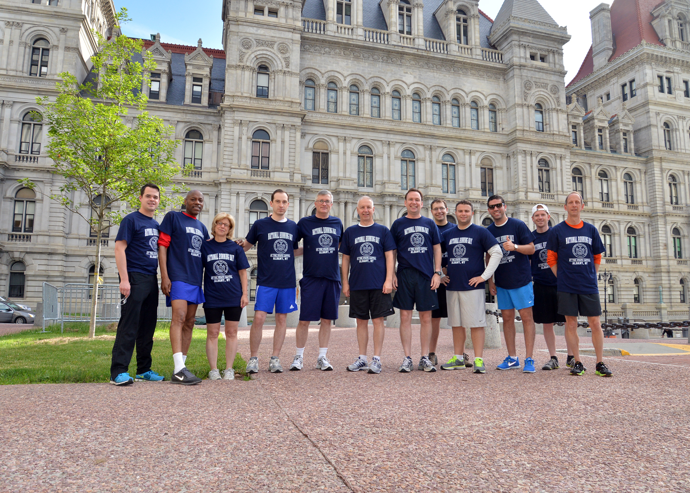 New York State Senators and Assemblymembers and Staff go for a run at the State Capital for National Running Day.