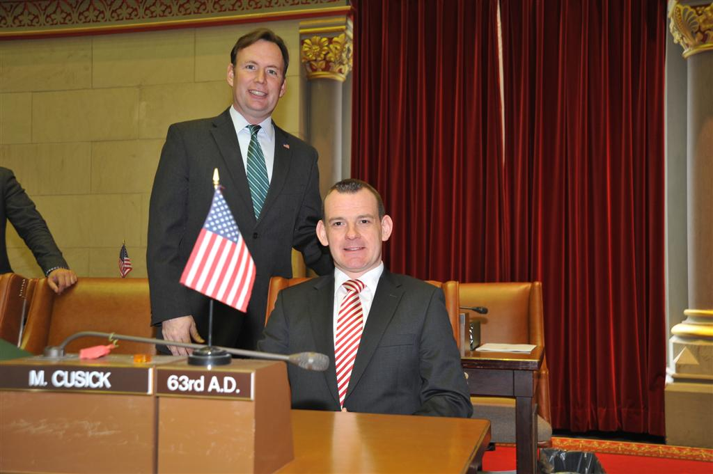 Assemblyman Michael Cusick in the Assembly Chamber with his 2013 Session Intern, Padraig MacConsaidin. Padraig was a Whalen Intern from the University College Cork, Cork Ireland.