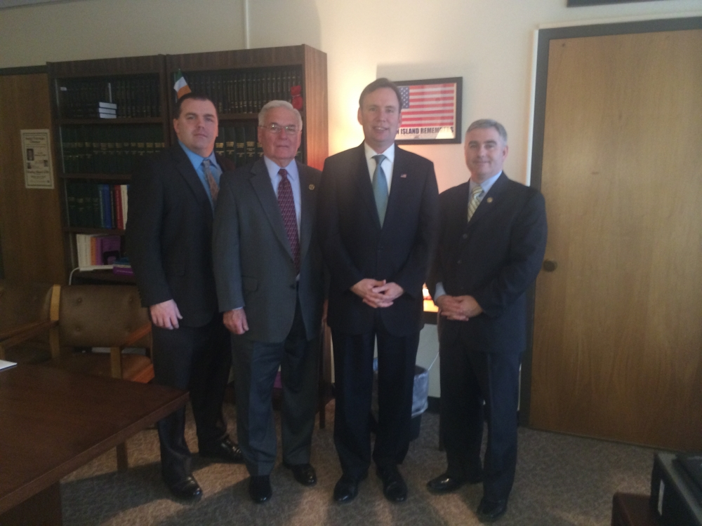 AOH:  Assemmblyman Cusick meets with members of the Ancient Order of Hibernians in America NYS Vice President Timothy McSweeney, New York State President Jim Burke, and Education Chair Liam McNabb in Albany.