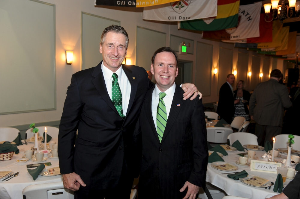 Lt. Governor Bob Duffy and Assemblyman Michael Cusick at the American Irish Legislators Society Annual Dinner in Albany. Cusick is the President of the Society who honored the Lt. Governor for his support and work with American Irish New Yorker's. -March 2014