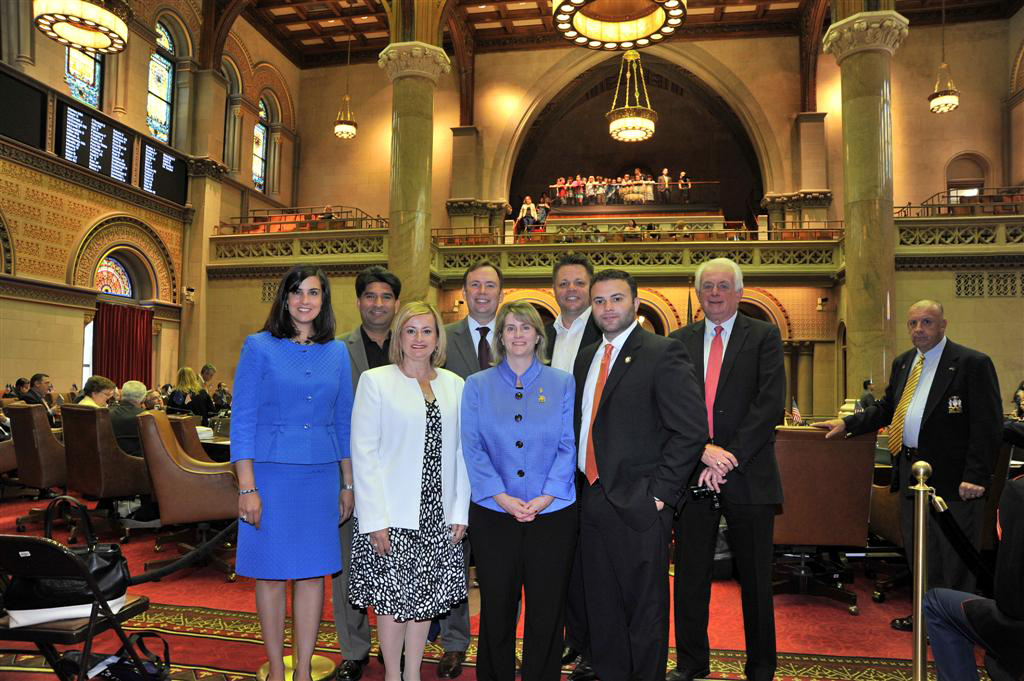 The Staten Island Board of Realtor's visit the State Capitol and are pictured in the Assembly Chamber with Assemblyman Cusick, Assemblywoman Malliotakis and Assemblyman Borelli