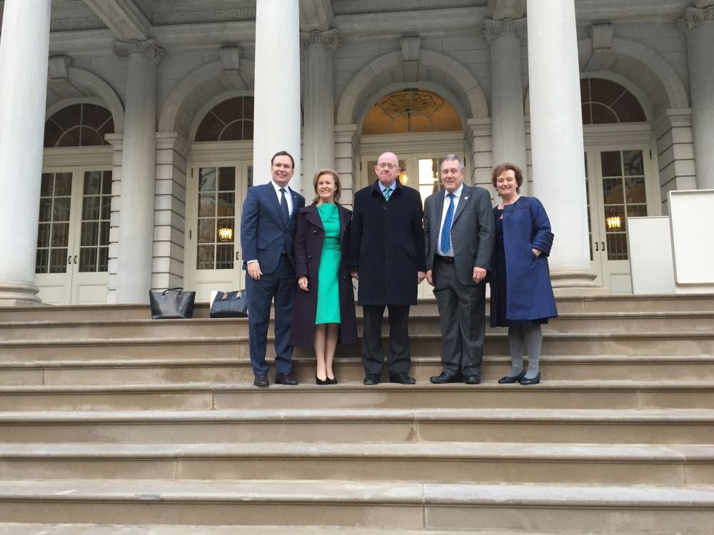 Assemblyman Michael Cusick meets with Irish Ambassador Ann Anderson, Foreign Minister Charlie Flanagan, Council Member Daniel Dromm, and Consul General Barbara Jones at City Hall.