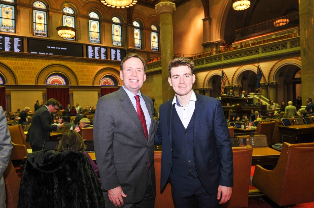 Emmet Cahill from Mullingar, County Westmeath, Ireland who is in the United States touring with the international Irish music group, Celtic Thunder pays a visit to the State Capitol. Emmet was introdu