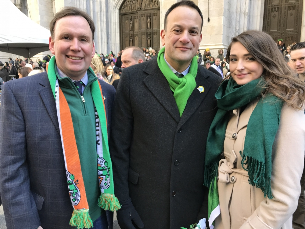 Assemblyman Michael Cusick, President of the American Irish Legislators Society of New York state is joined by Ireland's Taoiseach, Leo Varadkar and the Assemblyman's Intern from University