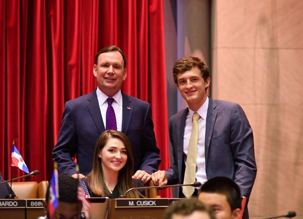 Assemblyman Cusick attends the 2018 &#34;Intern Mock Session&#34; in the Assembly Chamber with his Interns, Mairead Supple from University College Cork, Cork Ireland and Matthew Henning from SUNY Plattsburgh.<br />&nbsp;