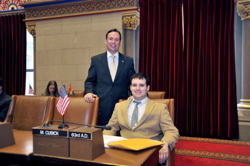 "Assemblyman Cusick attends the 2011 ""Intern Mock Session"" in the Assembly Chamber with his Intern, Calvin Reifler. Calvin was Intern for the Task Force on People with Disabilities, which Assemblyman Cusick Chairs."