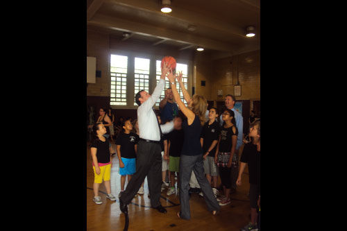 "Assemblyman Cusick and Principal Manfredi ""tip off"" the Total Fitness Challenge."