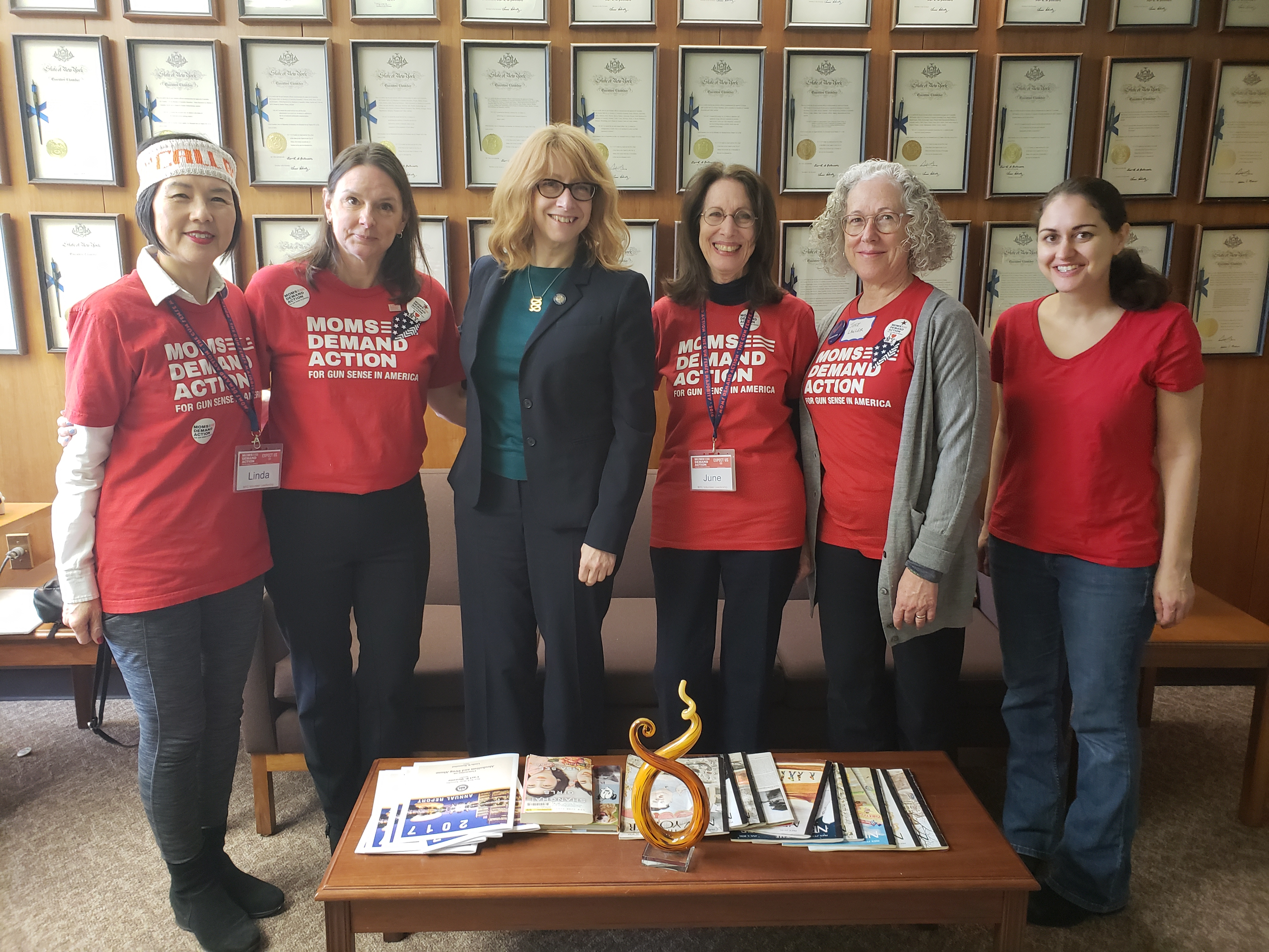 Moms Assemblymember Linda B. Rosenthal meets with Moms Demand Action for Gun Sense in America in Albany to discuss the need for tougher gun laws in New York State (L-R: Linda Dumm, Joyce Lawler, June Rubin, Diane Rinaldo).<br />&nbsp;