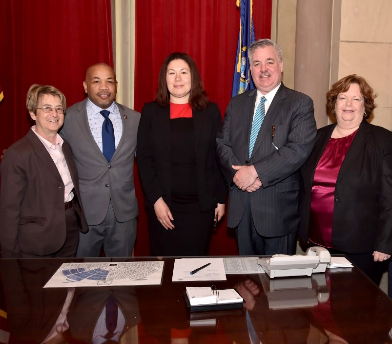 Recently appointed Manhattan Regent Nan Mead is joined by Assembly Speaker Carl Heastie, Assembly Education Chair Cathy Nolan, Assembly Higher Education Chair Deborah Glick, and Assembly Member O'Donn