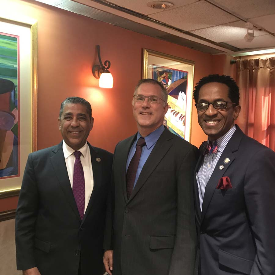 Assembly Member Al Taylor, Congressman Adriano Espaillat and City College of New York President Vincent Boudreau discuss education programs during a forum, November 2017.