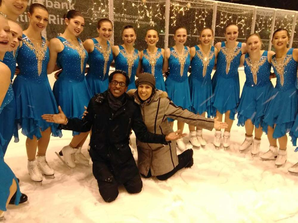 Assembly Member Al Taylor enjoys a lighthearted moment during the annual opening of the ice rink at Denny Farrell Riverbank State Park in the company of many professional and amateur figure skaters wh