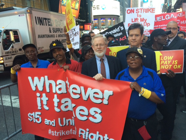 <strong>Fast Food Forward Campaign:</strong><br>Rallying with fast food workers for fair pay and a union! With State Sen. Brad Hoylman. Boro. Pres. Gale Brewer was also there.