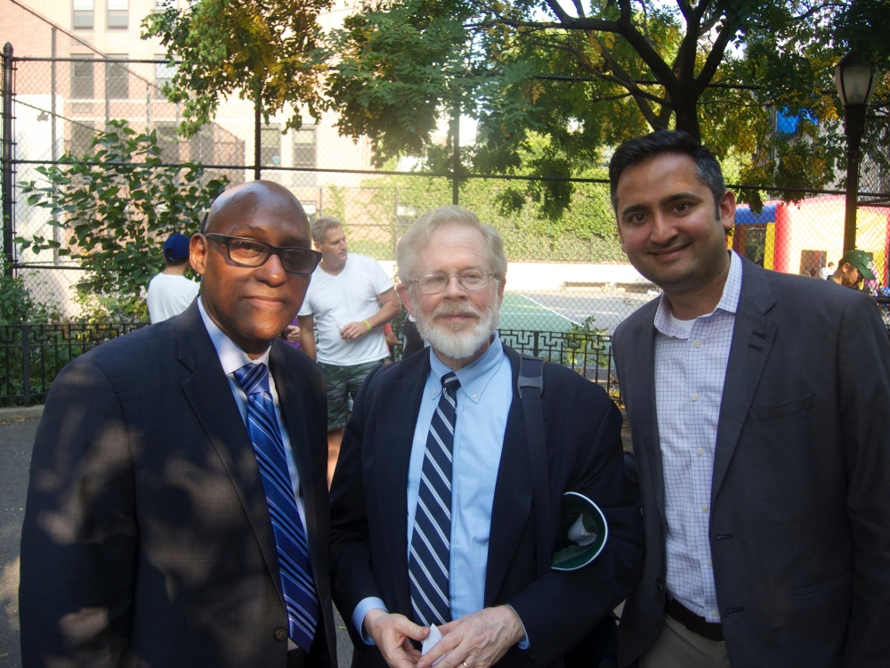<strong>Hearing about a Gottfried law working:</strong><br>At the Night Out Against Crime event in Hell's Kitchen Park with Jeff Hobbs and Dipal Shah of the Midtown Community Court, a local court that targets quality-of-life and low-level offenses.  The Court often uses a law I recently wrote that lets a person forced into prostitution by human traffickers to have his or her criminal record erased, enabling victims of trafficking to move ahead in life without the burden of a criminal record.