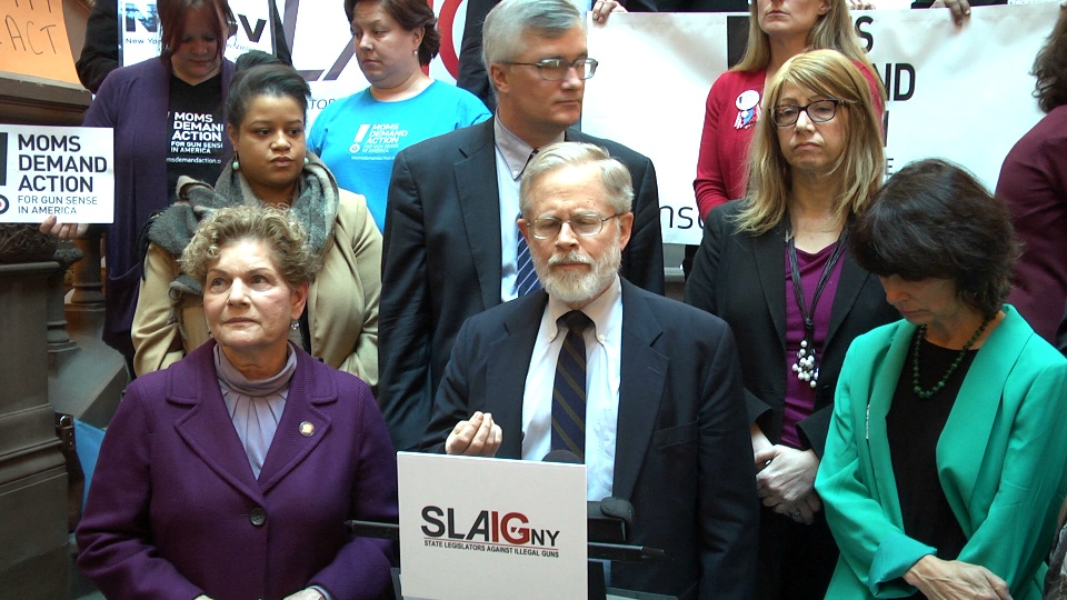 Speaking out against gun violence during the State Legislators Against Illegal Guns press conference.
