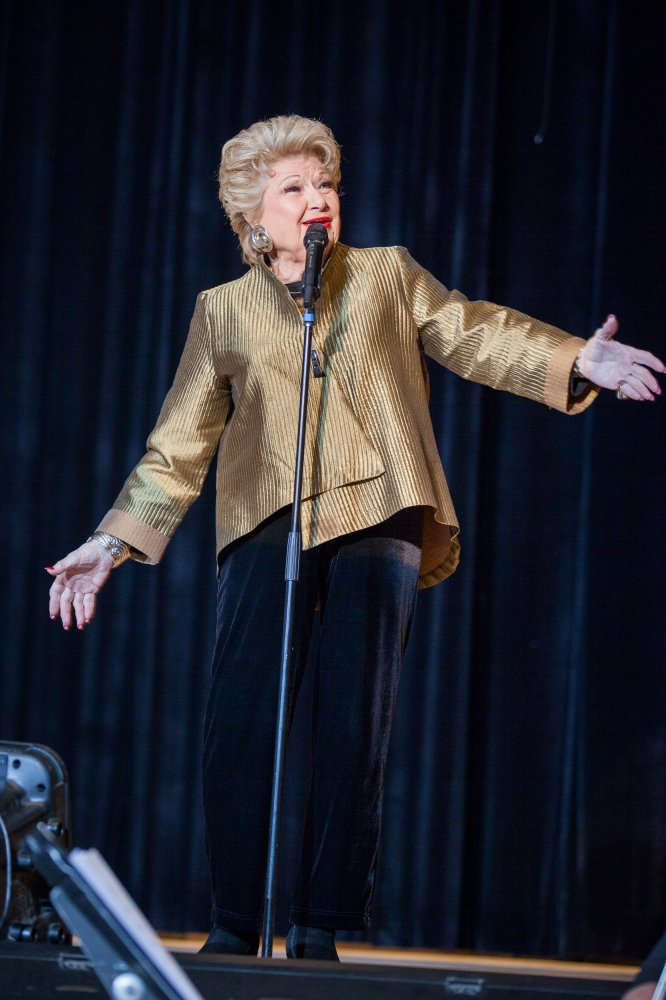 February 22—Julia Richman High School, UES— Entertainer Marilyn Maye performs a medley at the Julia Richman Education Complex for the inauguration of Assembly Member Rebecca Seawright.