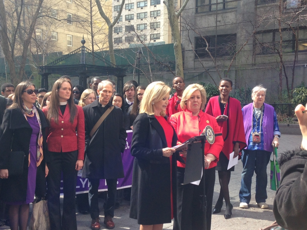 April 13-- Dag Hammarskjold Plaza-- Assembly Member Rebecca A. Seawright stands with Congresswoman Carolyn Maloney to commemorate one year after the Chibok schoolgirls abduction.