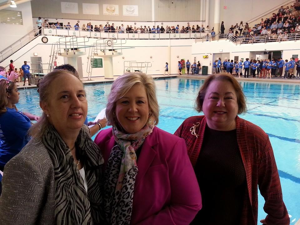 April 25, 2015—Asphalt Green, Upper East Side—Assembly Member Seawright stands with State Senator Liz Krueger and Manhattan Borough President Gale Brewer in support of Asphalt Green's Big Swim.