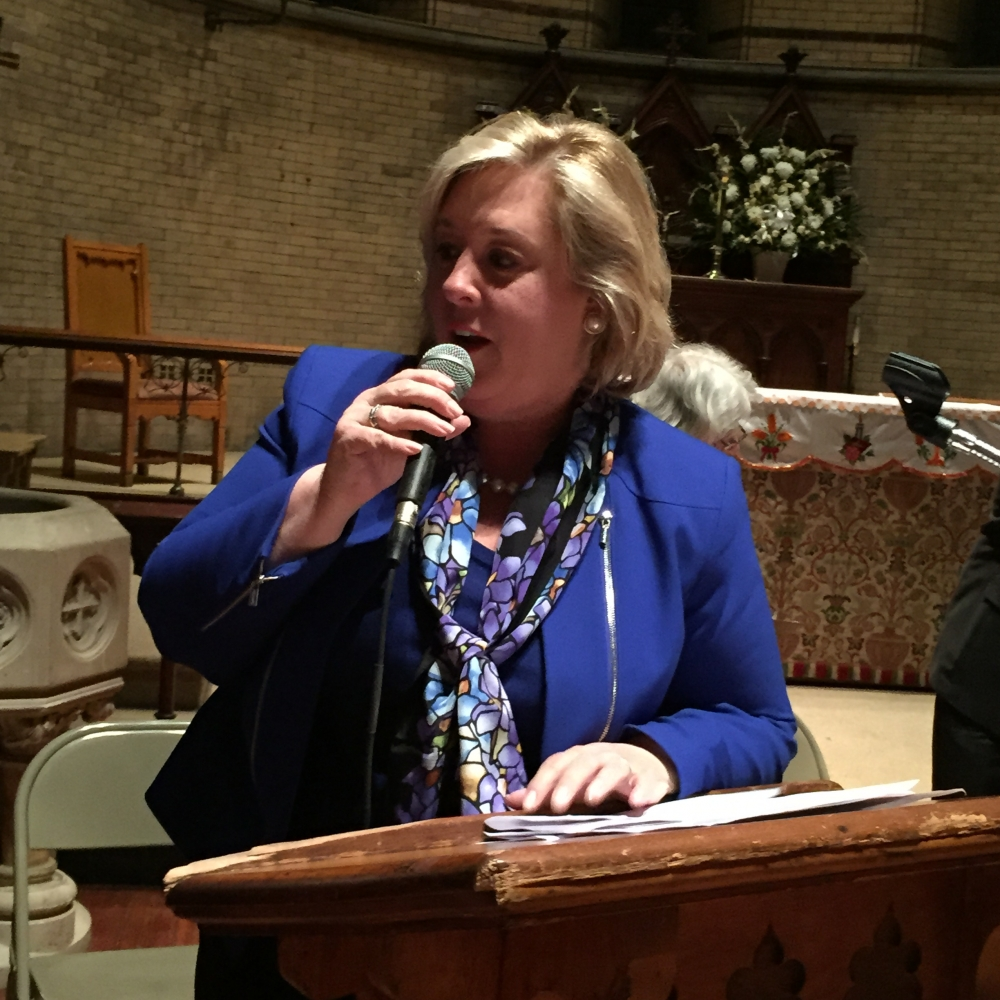 May 21, 2015— Chapel of the Good Shepherd, Roosevelt Island -- Assembly Member Seawright began the Town Hall with an announcement that she had just received an email from the Governor's office releasing the Public Purpose Funds.