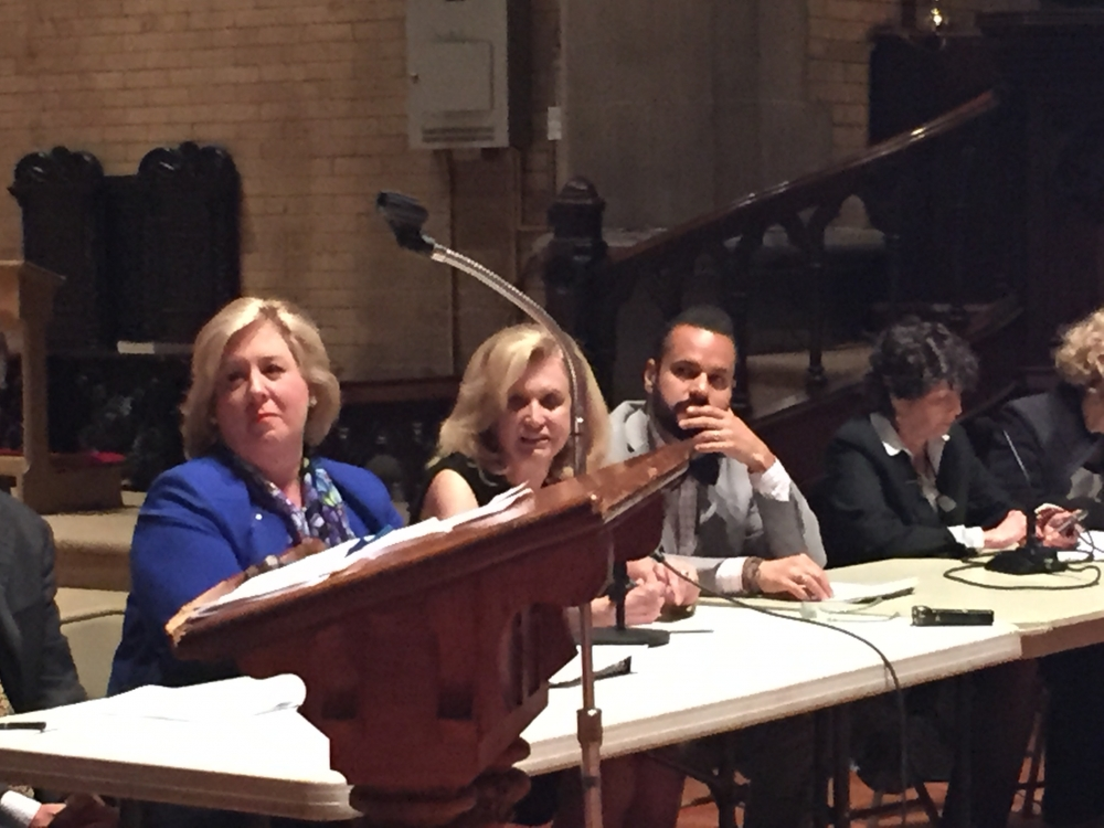 May 21, 2015— Chapel of the Good Shepherd, Roosevelt Island -- Assembly Member Seawright hosted a Roosevelt Island Town Hall.  Roosevelt Island's Joyce Short, Master of Ceremonies, led the panel with Assembly Member Rebecca Seawright, Congresswoman Carolyn Maloney, State Senator Jose Serrano, Manhattan Borough President Gale Brewer, Council Member Ben Kallos, Homes and Community Renewal's Ted Houghton, Cornell Tech's Jane Swanson, RIOC's Charlene Indelicato and Con Ed's Caroline Kretz.