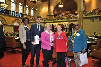 Assembly Member Seawright stands with nurses from Roosevelt Island: Diana Cortaya, Michael Graham, Nina Howes and Vera Johnson for the passage of the NY Health Act A5062 in the Assembly.