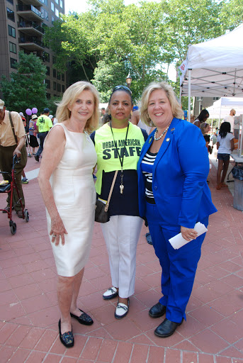 June 13, 2015—Roosevelt Island Day--Congresswoman Carolyn Maloney, Doryne Isley of Urban American, and Assembly Member Rebecca Seawright (photo courtesy Frank Farance)