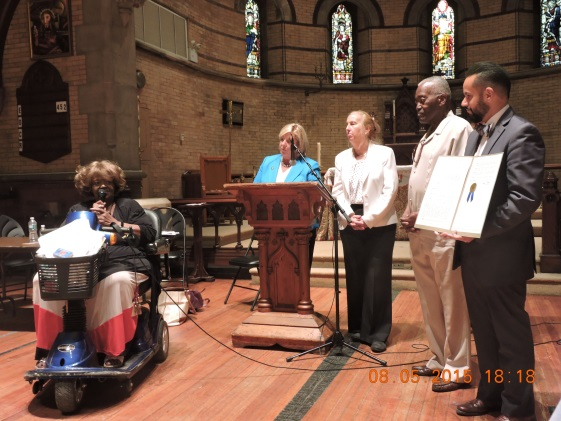 August 5, 2015— Chapel of the Good Shepherd, Roosevelt Island ---Roosevelt Island resident Dolores Green speaks about her late friend Dominic Sciallo.