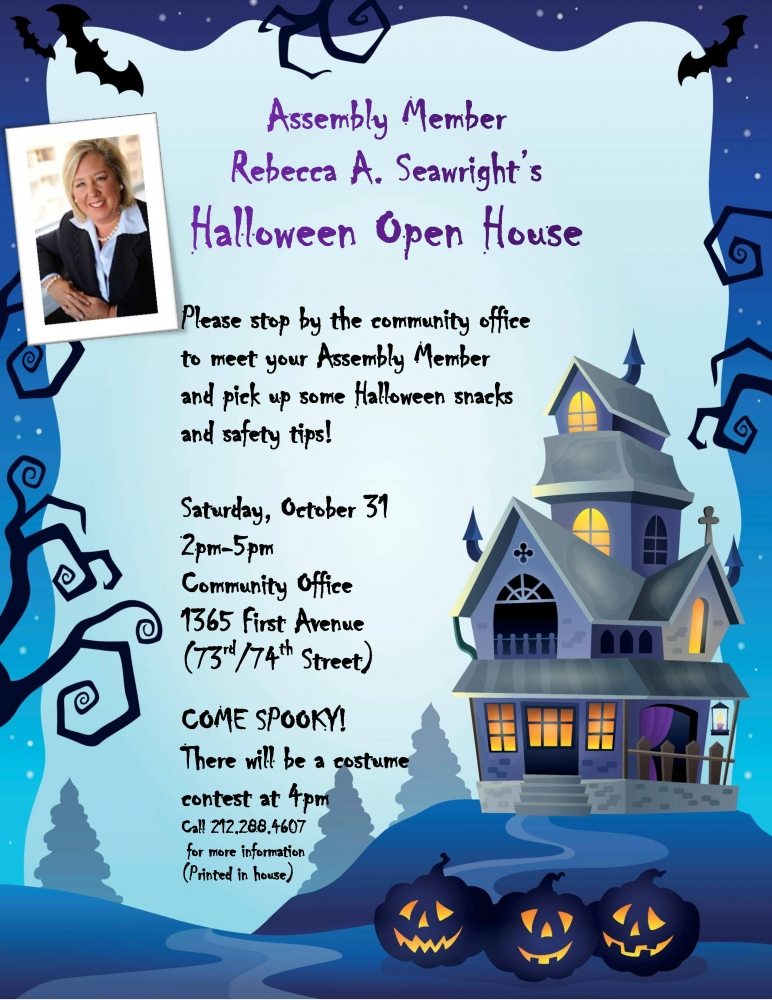 Please come to our Halloween Open House. A costume contest will take place at 4pm.