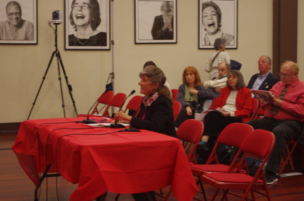 Joyce Short, Roosevelt Island Residents Association, testifying at the Assembly Member's Senior Consumer Fraud Hearing.