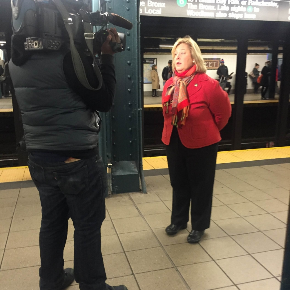"December 8, 2015---86th Street Uptown Lexington Line---In an interview with MSNBC, ""Wifi is essential to the safety and convenience of our New York City Commuters,"" said Seawright."