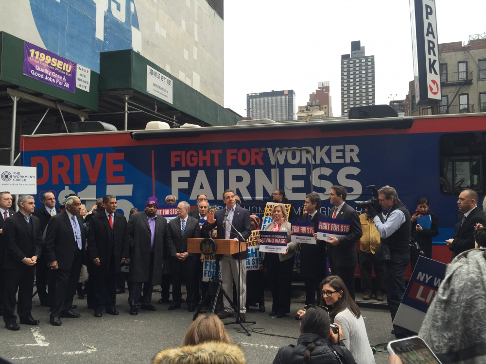 On Tuesday, February 23, 2016 Assembly Member Seawright stood beside Governor Andrew Cuomo and the leadership and members of 1199 SEIU to kick off the Mario Cuomo Campaign for Economic Justice Bus Tour.  Labor leaders George Gresham, Peter Ward and Mario Cilento all spoke to the fact that New York needs to close the inequality gap.<br><br>