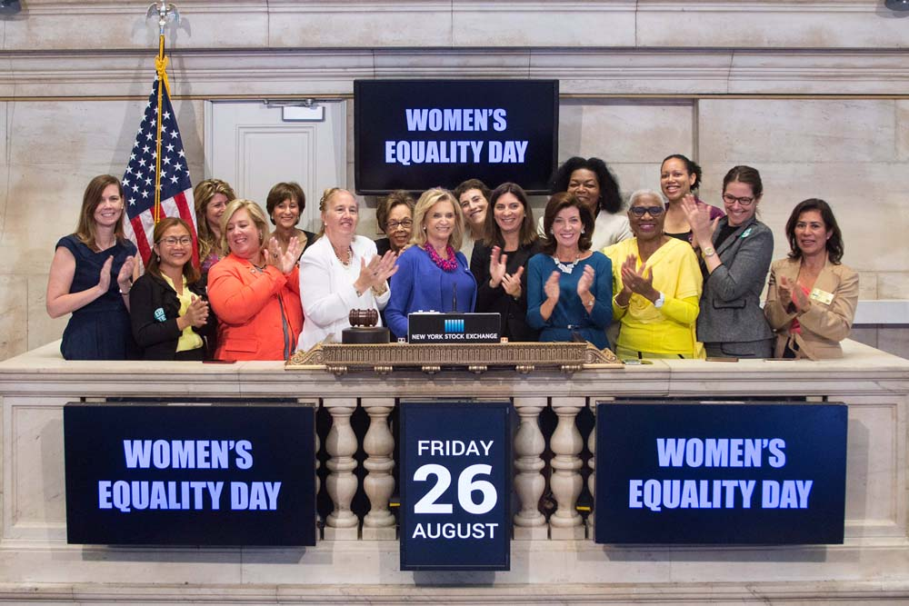 Congresswoman Carolyn Maloney rings the bell at the NY Stock Exchange to mark Women's Equality Day. Proud to join America's Congresswoman, Lt. Governor Kathy Hochul, and Borough President Gale Brewer!  Photo Credit: NYSE<br />