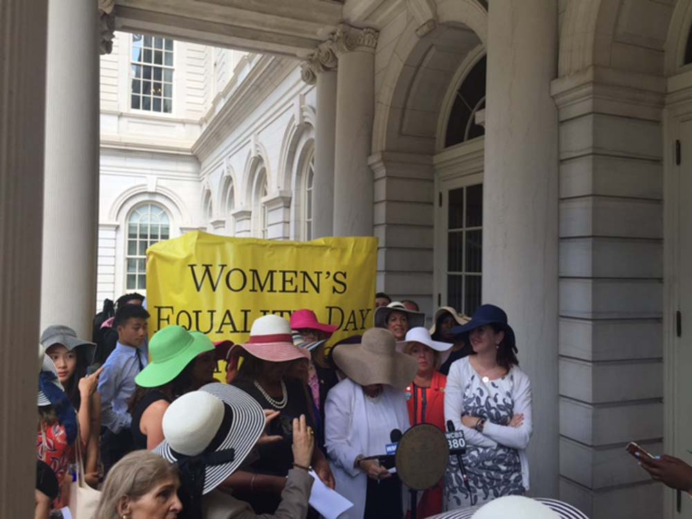 Manhattan Borough President Gale Brewer's press conference with remarkable women activists on the steps of City Hall celebrating Women's Equality Day!<br />