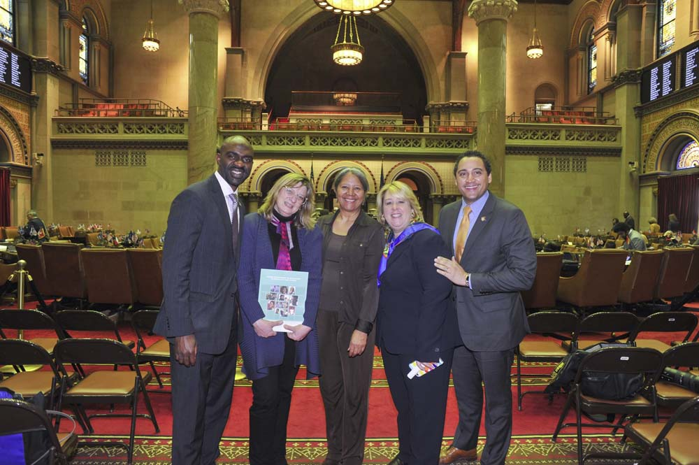 March 1, 2017 – Representatives From Mount Sinai Adolescent Health Center Visit Assembly Chambers<br />From left: Assembly Member Michael Blake, Katherine DeFoyd, Dr. Angela Diaz, director of Mount Sinai Adolescent Health Center,  Assembly Member Rebecca Seawright, and Assembly Member Robert Rodriguez<br />