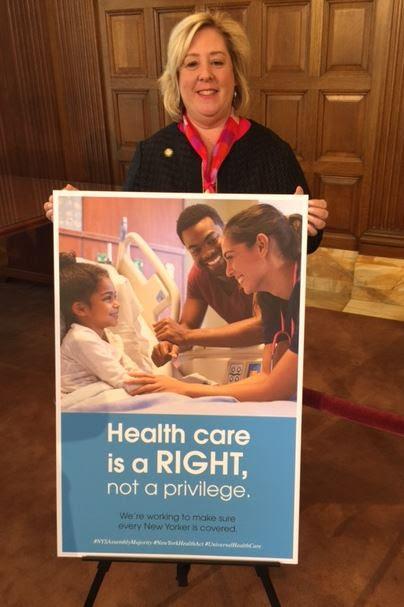 "On May 16, 2017 Assembly Member Rebecca Seawright helped pass the New York Health Act, legislation that would create a universal single-payer plan to provide health coverage to every New Yorker (<a href=""/leg/?bn=A.4738&term=2017"" target=""blank"">A.4738</a>).<br /><strong>""Each session, there is a bill that overwhelmingly resonates with our constituents,"" Seawright said. ""This year, that bill is the NY Health Act. Good quality and affordable health care is a basic necessity that should be available to all.""</strong><br />"