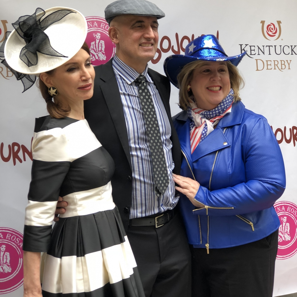 Philanthropist Jean Shafiroff, Second Avenue Business Association founder and Sojourn Restaurant owner Sammy Musovic with Assembly Member Seawright at Congresswoman Carolyn Maloney&#39;s Kentucky Derby Watch Party.<br />&nbsp;