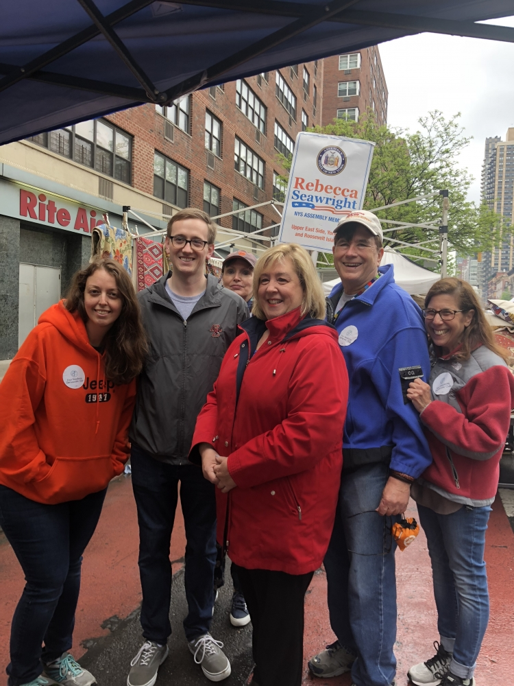Kim Moscaritolo, John Laadt, Rebecca Seawright, John Wagner and Susan Roberts at the Second Avenue Street Fair.<br />&nbsp;