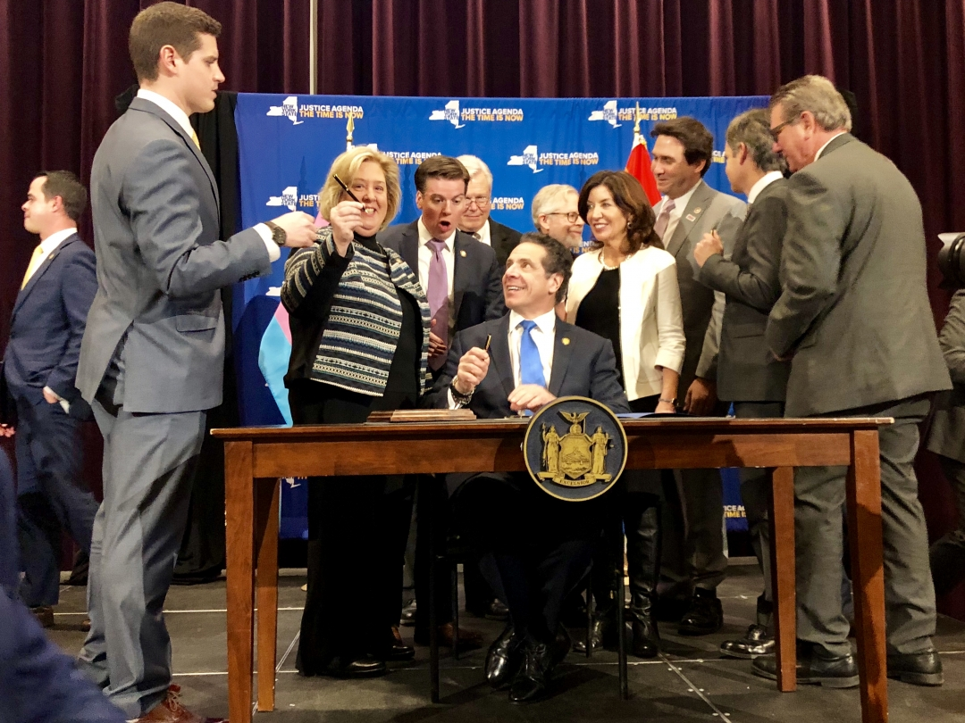 On January 25, Seawright attends the bill signing for the Gender Expression Non-Discrimination Act and legislation to ban conversion therapy at the LGBT Center.