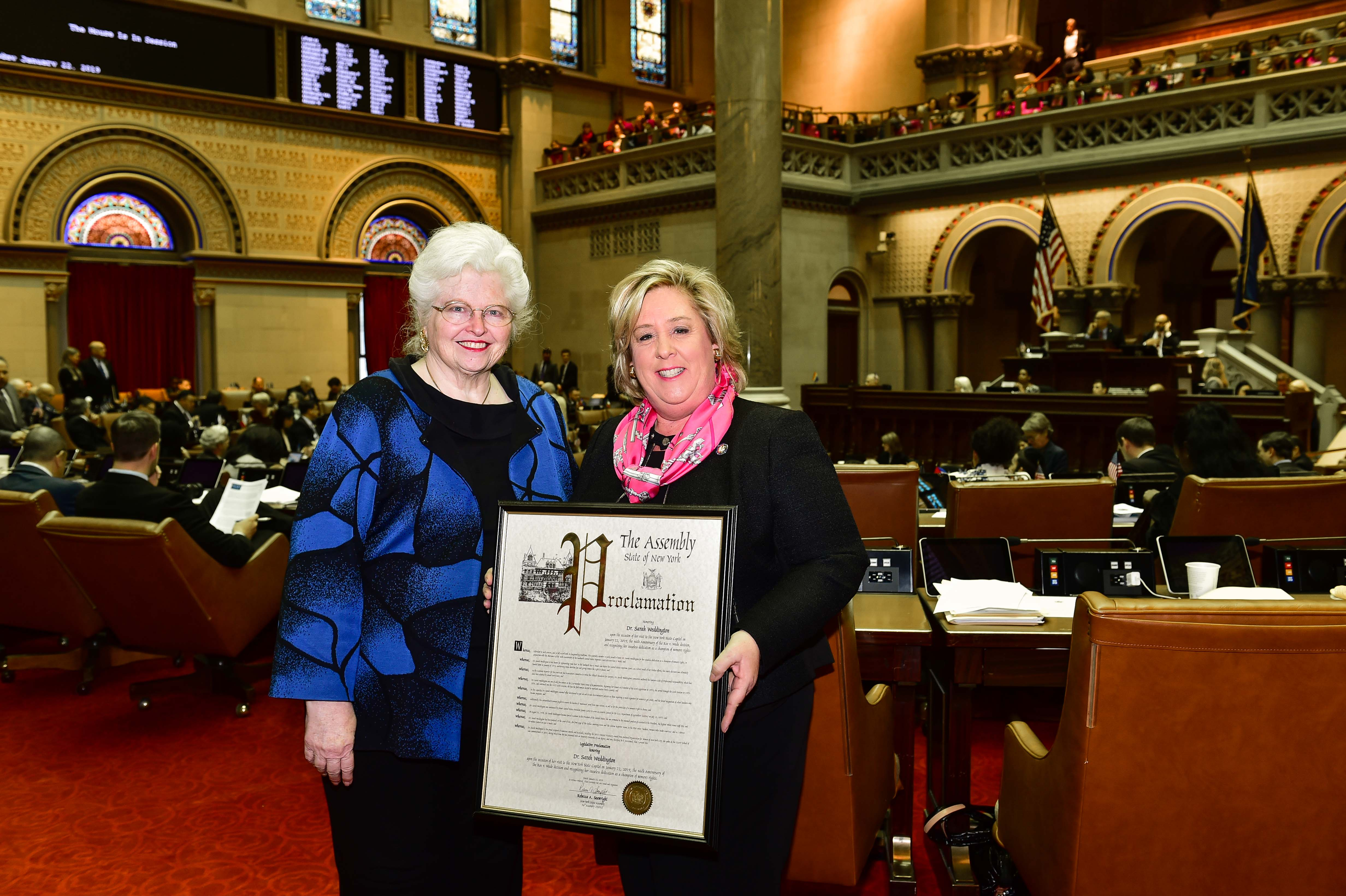 Seawright presents Dr. Sarah Weddington with a Legislative Resolution honoring her in the Assembly Chamber on the occasion of the 46th Anniversary of Roe v. Wade.