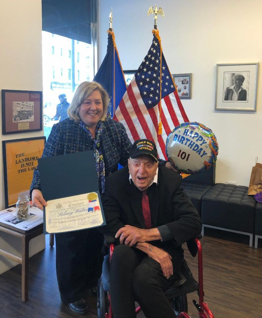 WWII Veteran Sidney Walton visited Assembly Member Rebecca Seawright on the occasion of his 101st birthday. He is touring the country to raise awareness of the sacrifices made by WWII veterans.