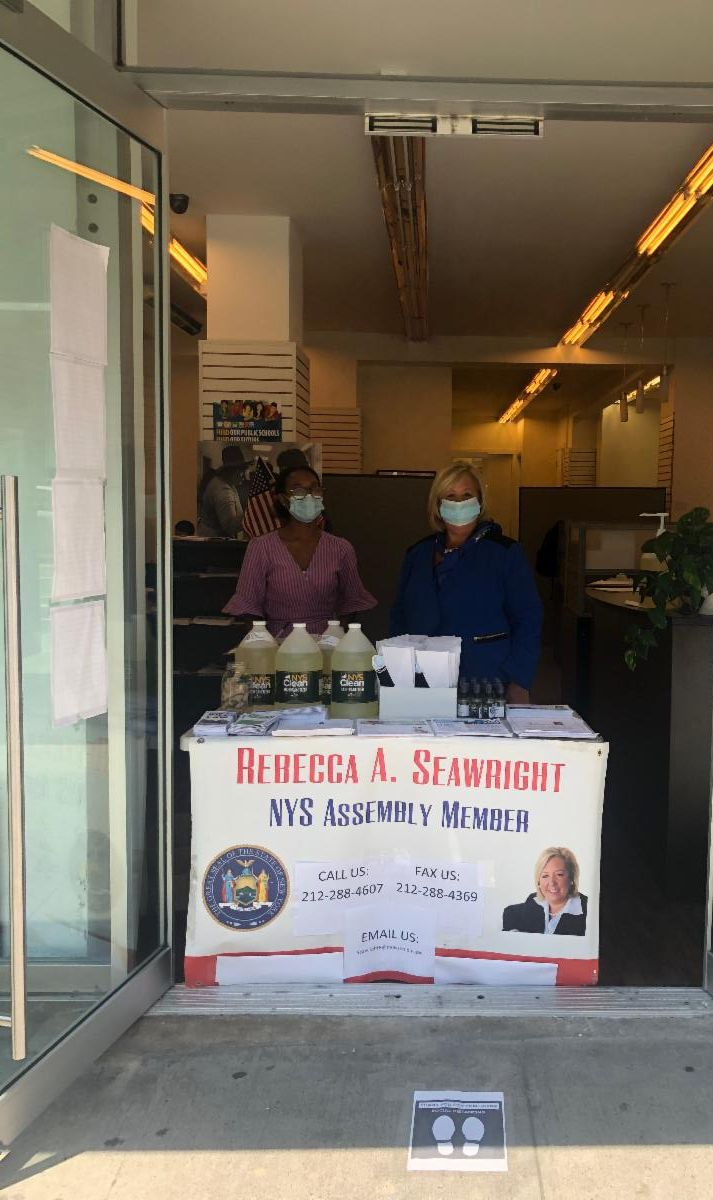 On Thursday, July 9th Assembly Member Seawright handed out face coverings and hand sanitizer at the community office.