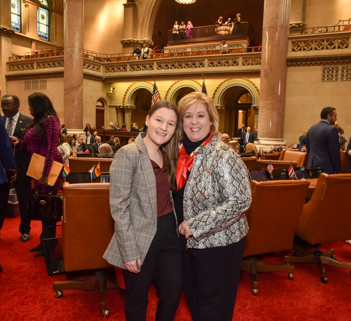 Seawright (right) with her daughter Haley (left) in Assembly Chambers.