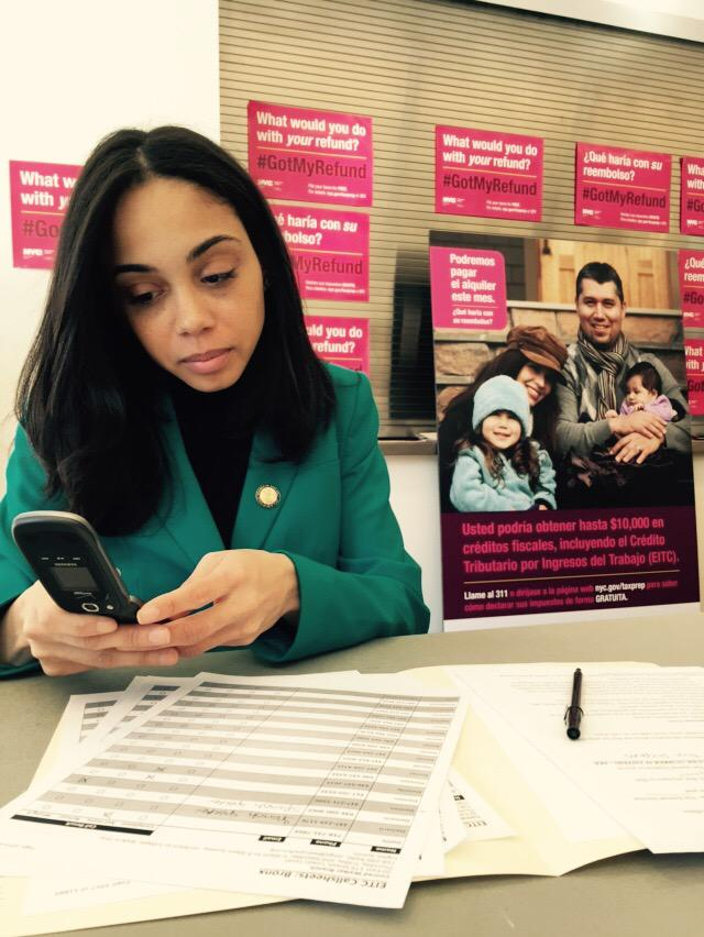 Assembly Member Latoya Joyner does her part at the New York City Department of Consumer Affairs (DCA)'s first-ever volunteer driven EITC Awareness Day phone-a-thon.