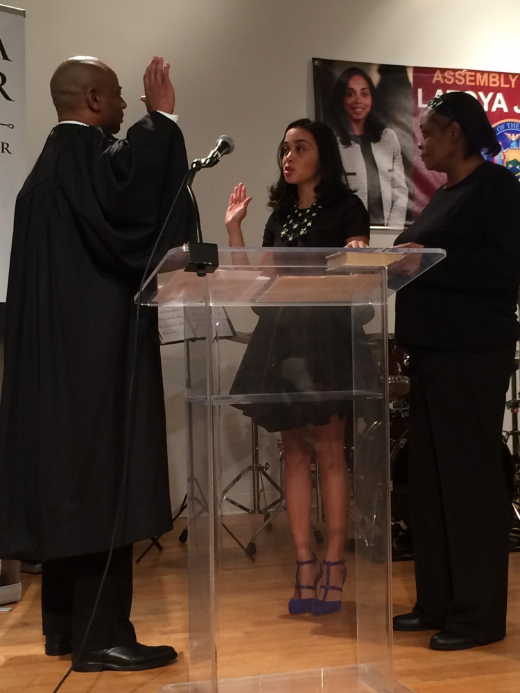 On January 25, Assembly Member Latoya Joyner was officially sworn-in. The Honorable Eddie McShan, Bronx Civil Court Judge, administered the Oath of Office.