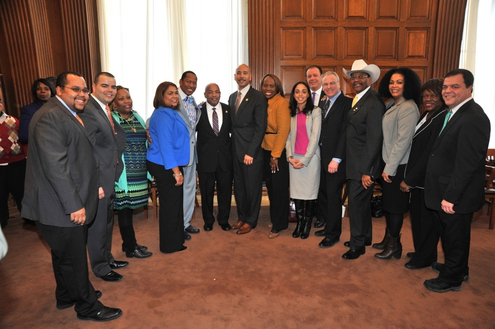 Assemblywoman Latoya Joyner joins the Bronx Delegation in honoring Speaker Carl E. Heastie.