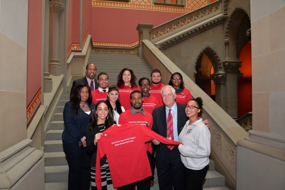 In Albany, Assemblywoman Latoya Joyner welcomes students and faculty from Stony Brook University.
