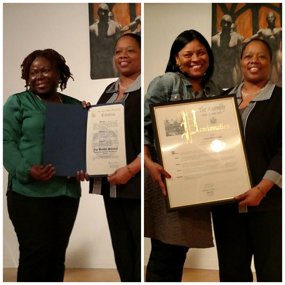 For Black History Month 2015, Assemblywoman Latoya Joyner honored local education leaders, including Fay Brown-Satchell (L), Assistant Principal from the Bronx High School of Business, and Rev. Albert O.L. Sutton, pastor from The Friendly Baptist Church and The New Friendly Day Care Center, for their work for developing and teaching our community's future leaders.  Towona Joye (R) accepted Rev. Sutton's award on his behalf.