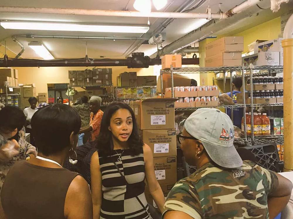 Assemblywoman Latoya Joyner visits a local food pantry in the Highbridge area.