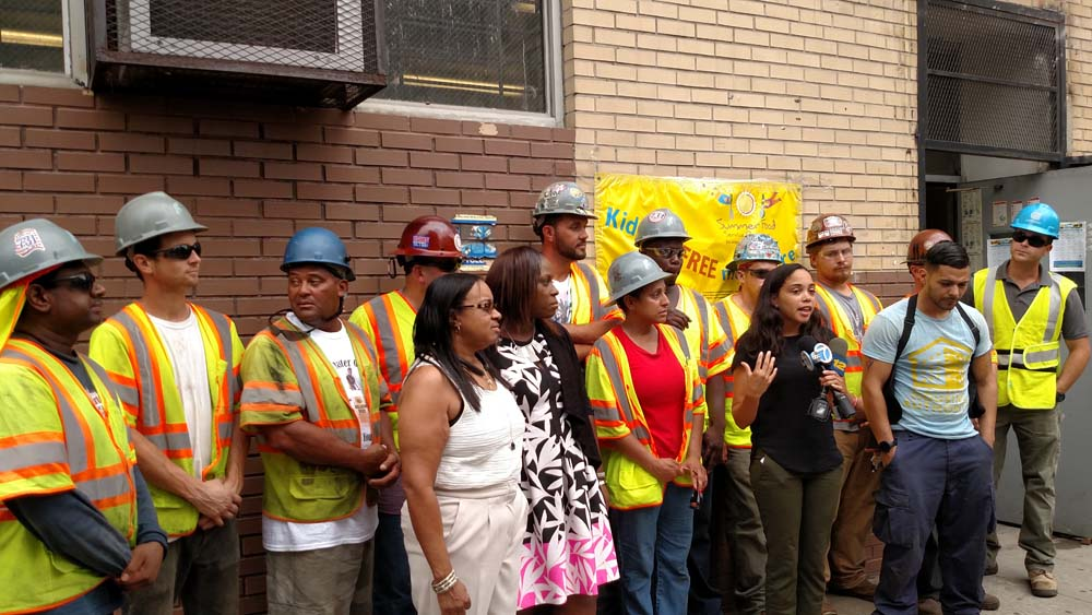 Assemblywoman Latoya Joyner, New York City Council Member Vanessa L. Gibson and Community Leader Maria Forbes, president of the NYCHA Clay Avenue Tenants Association, held a ceremony for NYCHA and Network Infrastructure workers who assisted in the brave rescue of families in the August 2nd fire of 1248 Clay Avenue.<br />