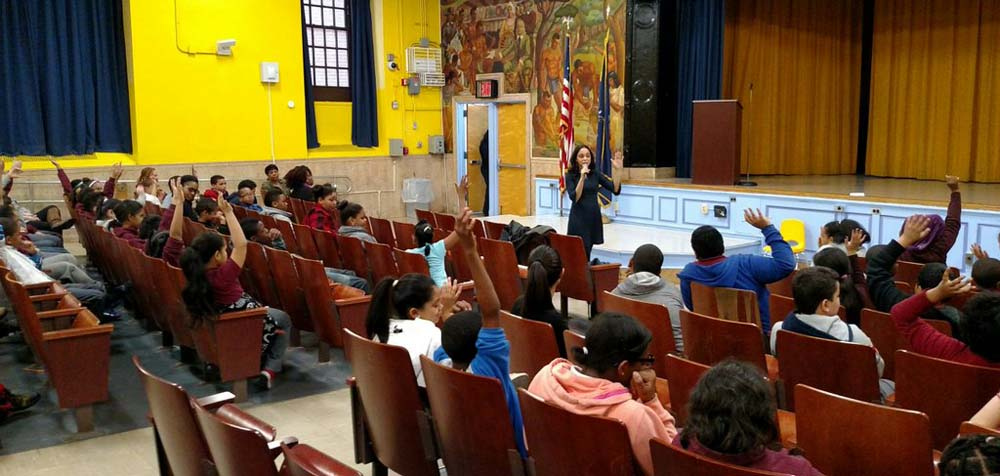 Assemblywoman Latoya Joyner speaks to the students of P.S. 11, which is located on Ogden Avenue.<br />