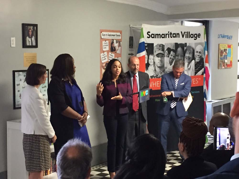Assemblywoman Latoya Joyner joined by Council Member Vanessa L. Gibson, the New York City Department of Education and the New York City Department of Social Services, as she announces new funding to help students and families in transitional housing.<br />